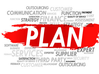Word cloud of PLAN related items, presentation background