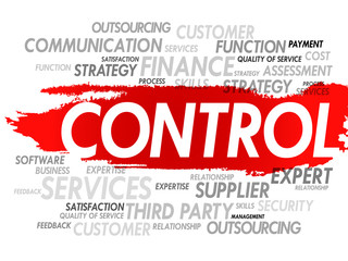 Word cloud of CONTROL related items, presentation background