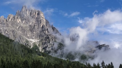 Time lapse, clouds over the Dolomites