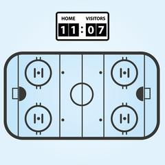 ice hockey field plan with score board eps10