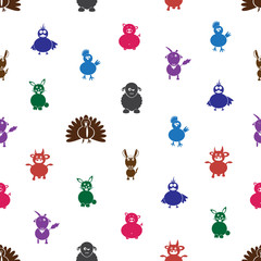 farm animals with mental disabilities seamless pattern eps10