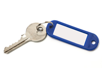 Key with blue trinket isolated