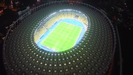 Panorama of football soccer arena at night, sporting event