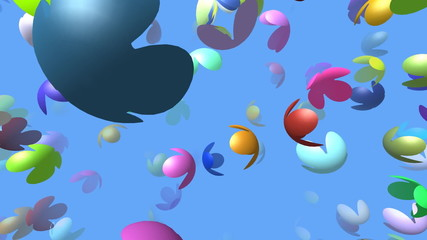 Flying flowers generated 3D video