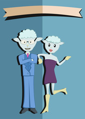 Mr and Mrs Sheep with Banner on Top Page