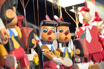 Painted wooden, the figure of Pinocchio