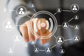 Social Network Interface businessman wifi button