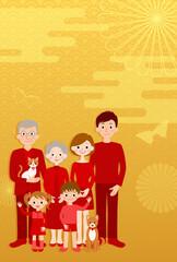 3世代ファミリーと金色の背景