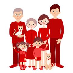 赤い服を着た3世代ファミリー