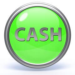Cash circular icon on white background