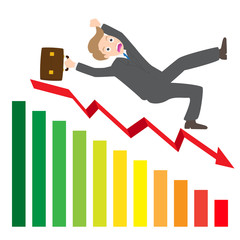 businessman Slipping Down a statistic arrow vector