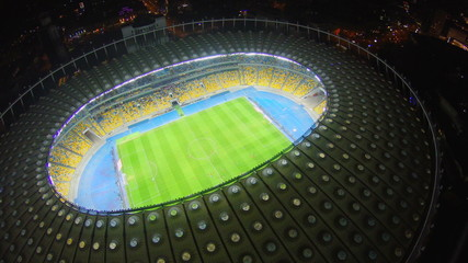Aerial shot of footballers on the field, match, stadium, arena