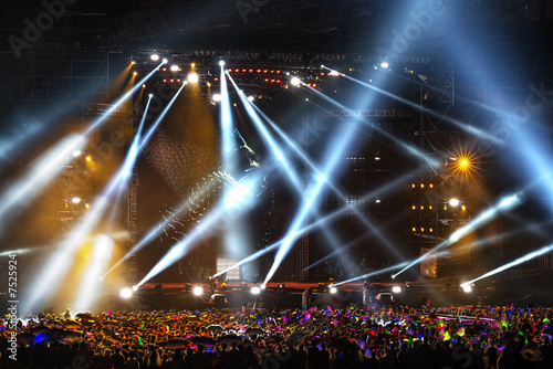 Poster Licht, schaduw Stage Spotlight with Laser rays