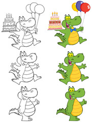 Crocodile Cartoon Mascot Character 3. Collection Set