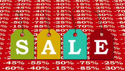 Sale label with discounts in percent advertising market