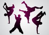 Fototapety Breakdancers  black silhouettes