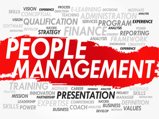 Word cloud of People Management related items, vector