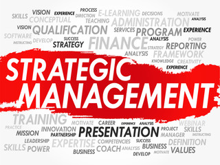 Word cloud of Strategic Management related items, vector