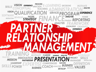 Word cloud Partner Relationship Management related items, vector