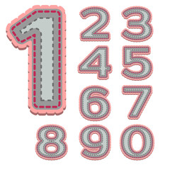 Numbers in patchwork style with stitches