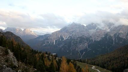 Italian Dolomiti alps mountain during sunset