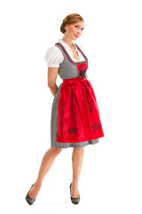 Bavarian girl isolated over white background
