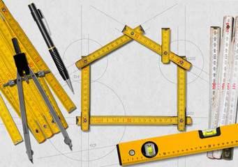 House Project - Yellow Wooden Meter
