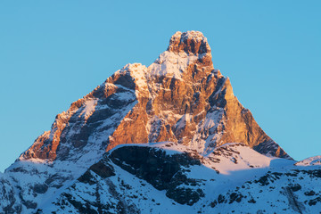 cervino matterhorn mountain in a winter sunrise