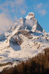 matterhorn cervino with clouds at afternoon