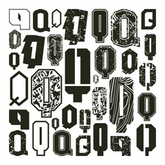 Set versions of letters Q