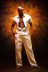 Portrait of a handsome man latino dancer.