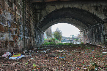 Under bridge,place where live homeless