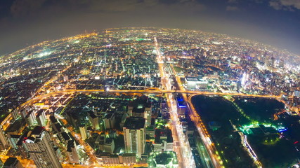 Timelapse video of Osaka in Japan aerial view