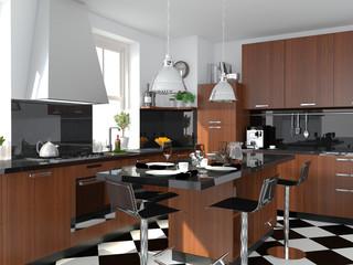 Küche mit Bodenfliesen