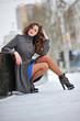 beautiful woman in winter walks