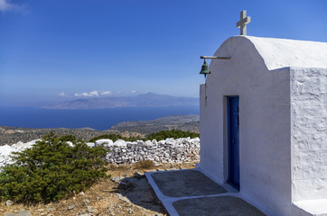 Chapel on top of a mountain in Iraklia island, Cyclades, Greece