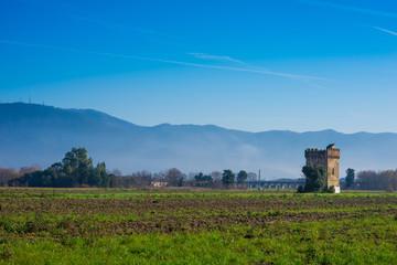 Panorama, colline e torretta, Toscana, Italia