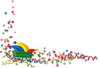 Karneval - Konfett, Luftschlangen und Narrenkappe. Vektor