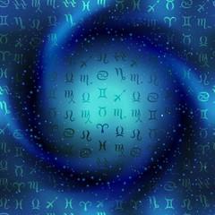 Zodiac symbols on space spiral background.