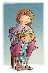 madre peinando a su hija