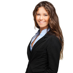 Smiling business woman isolated