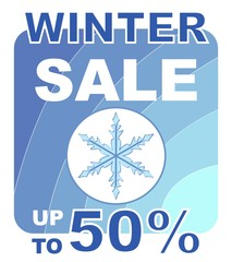 Winter sale with snowflake up to 50 percent price reducing