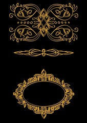 A set calligraphic themes in gold on a black background