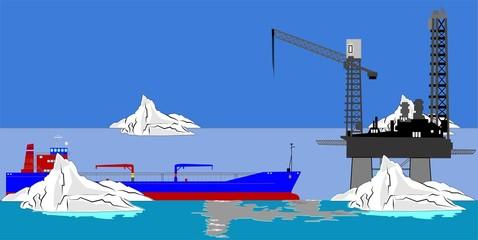 oil tanker at oil rig in ocean