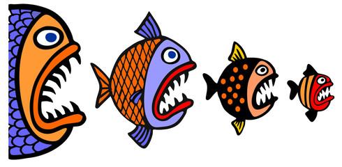 Diegroßen Fische fressen die kleinen