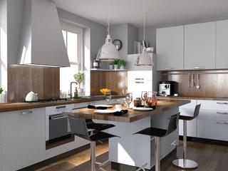 Küche mit Holzverkleidung
