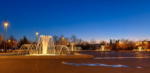 Fountains on the Boulevard in Baku