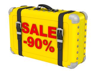 Распродажа -90% (Sale -90%). Надпись на желтом чемодане