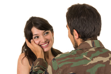 young military soldier returns to meet his wife girlfriend