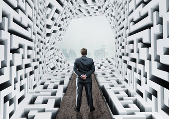 Businessman in labyrinth